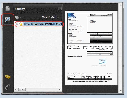 Podpisana elektronicka faktura ePodpisom v KROS OMEGA nahlad